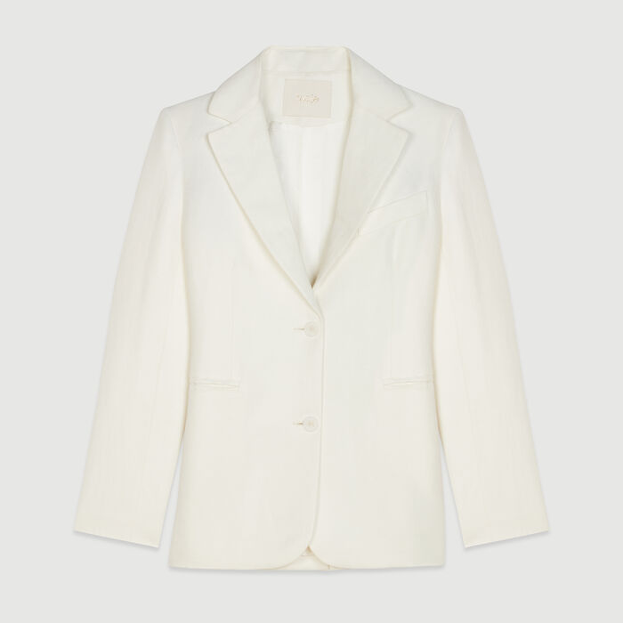 Tailor's jacket in mixed linen : Campaña SS19 color Blanco