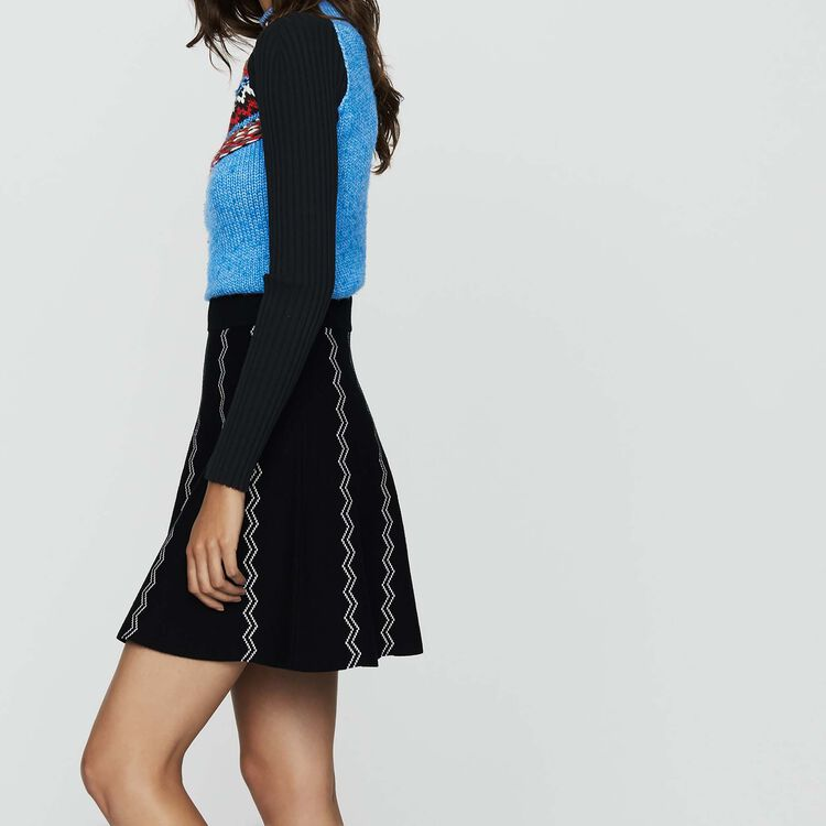 Falda patinadora de punto Jacquard : Prêt-à-porter color Negro