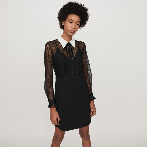 Vestido guipur-crepé cuello a contraste : Vestidos color Negro