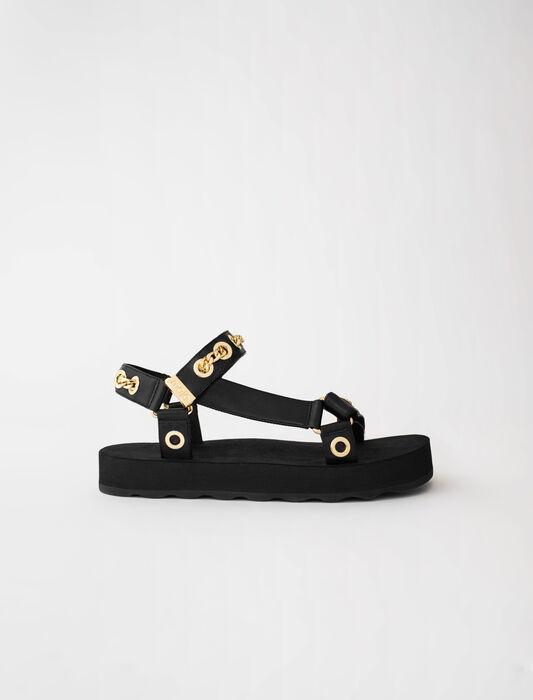 Sandalias de cuero con ojales y cadena : Zapatos de tacón color Negro