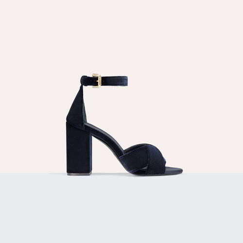 Sandalia de tacón de ante de becerro : Accesorios color BLEU NUIT