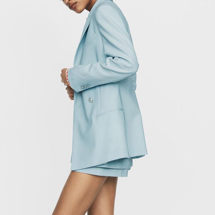 Blazer largo en lana mezclada : Prêt-à-porter color Azul Celeste