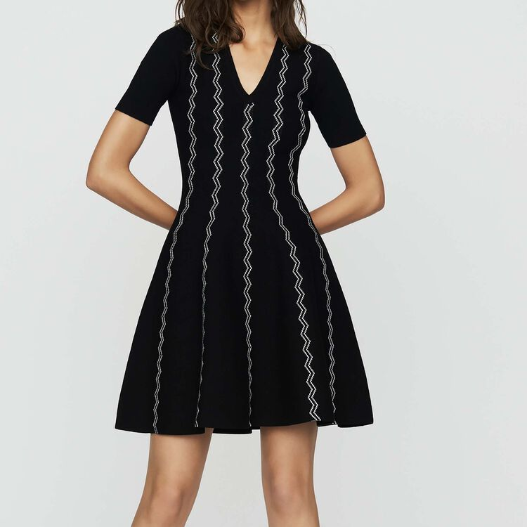 Vestido de punto de Jacquard : Prêt-à-porter color Negro