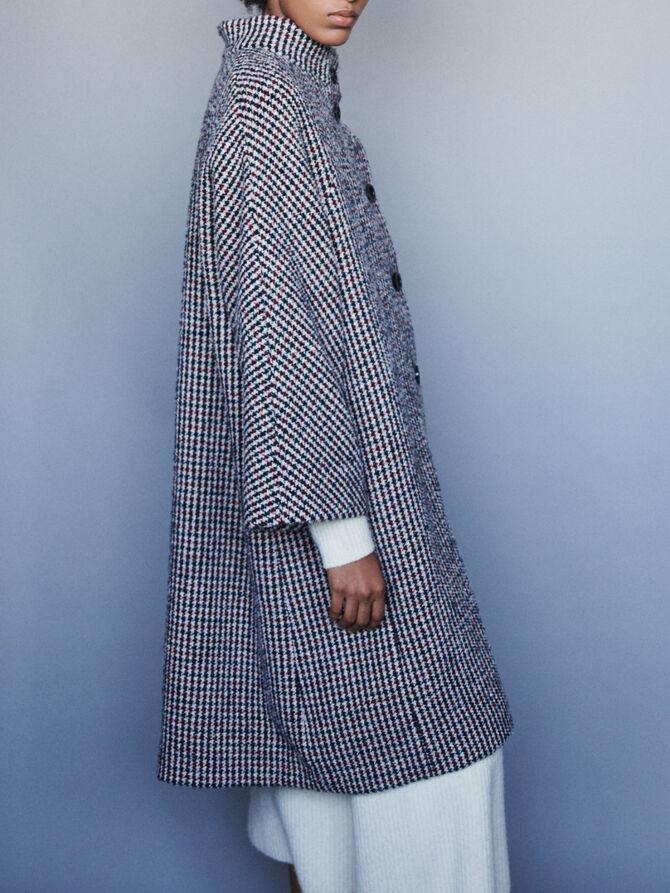 Abrigo largo en lana pata de gallo - Abrigos y Cazadoras - MAJE