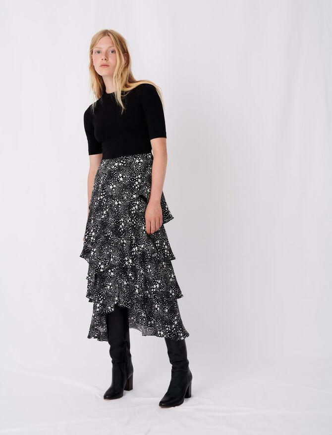 Vestido trampantojo efecto falda pañuelo - Vestidos - MAJE