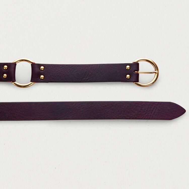 Cinturón con anillo de metal : Cinturones color Burdeos