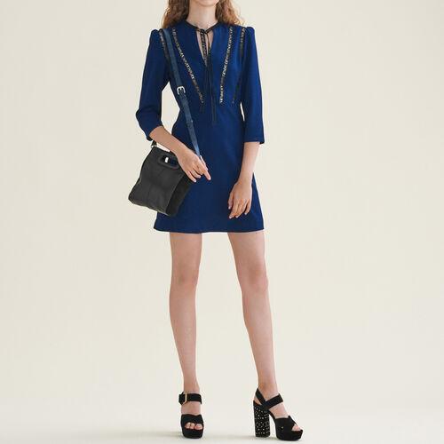 Vestido corto con galón AMOUR - Vestidos - MAJE