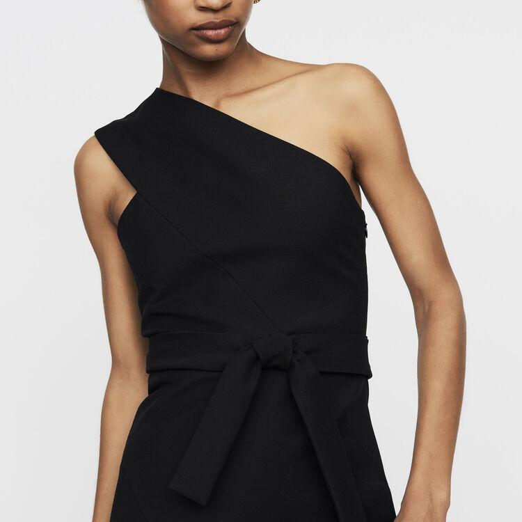 Vestido corto con hombros asimétricos : Vestidos color Negro
