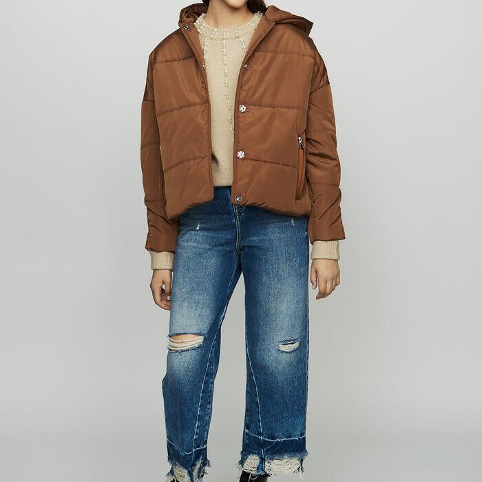 Plumas corto con capucha : Abrigos color Caramelo