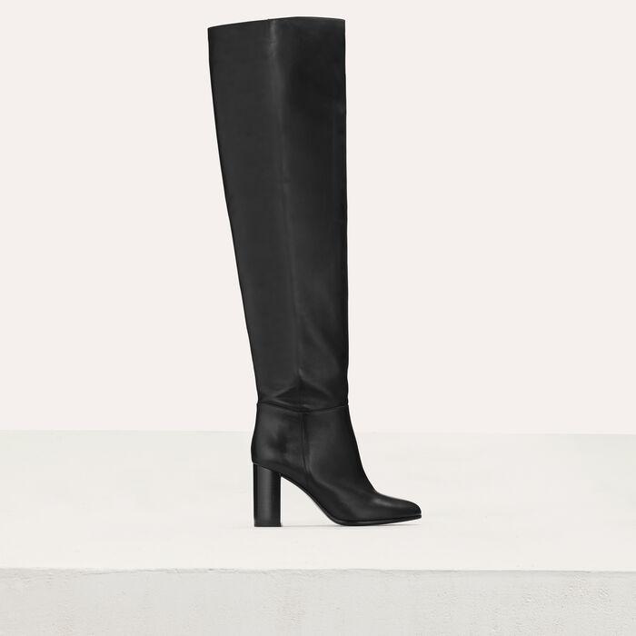 Botas de cuero con tacón : Botínes color Negro