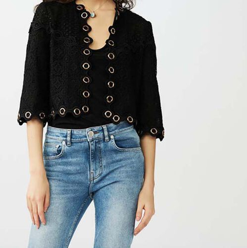 Lace jacket with eyelets : Malla color Negro