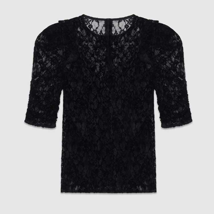 Top de encaje de terciopelo : Tops color Negro