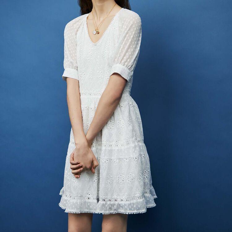 Vestido corto bordado : Vestidos color ECRU