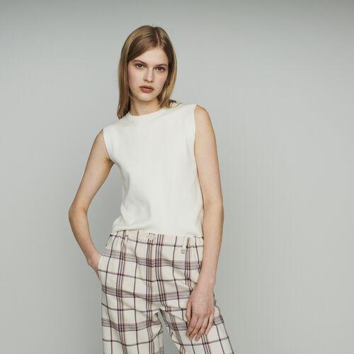 Suéter sin mangas en algodón mezclado : Malla color ECRU