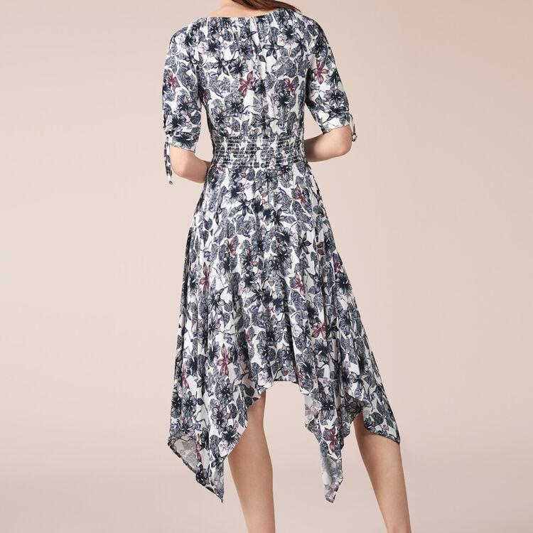 Vestido largo estampado de crepé - Vestidos - MAJE