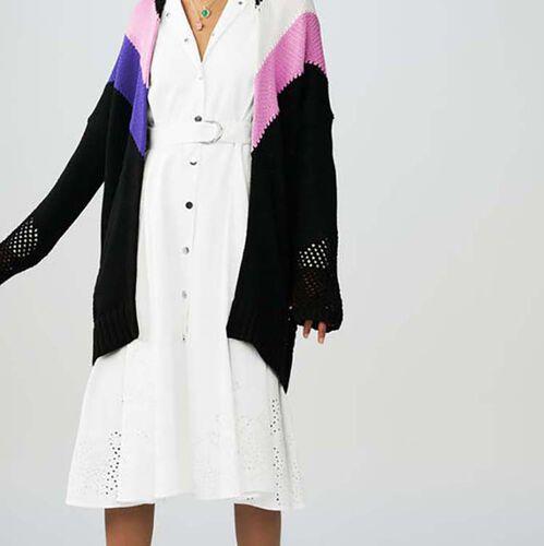 Black jumper with geometric pink : Malla color Multicolor