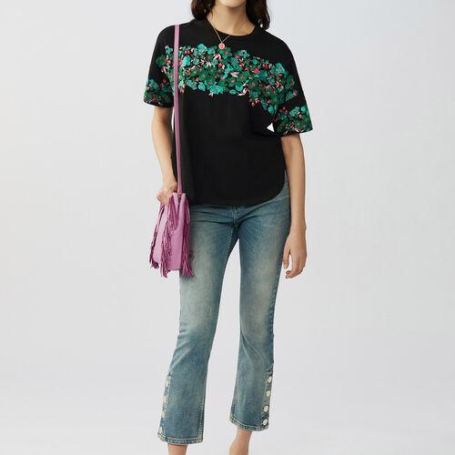 Camiseta loose bordada en algodón : T-Shirts color Negro