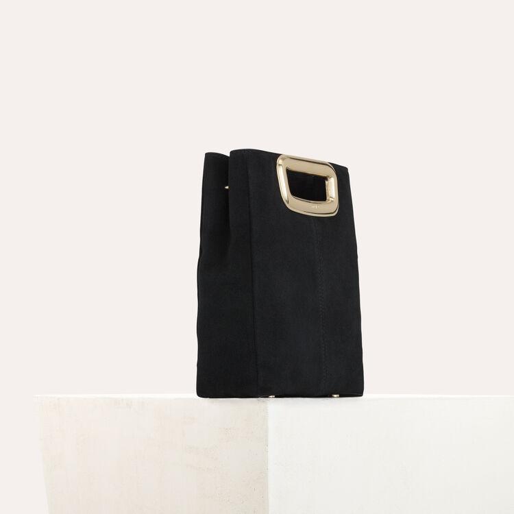 Bolso M Skin en gamuza y metal dorado : Bolsos M color Negro