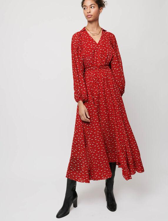 Vestido de muselina estampado - Vestidos - MAJE