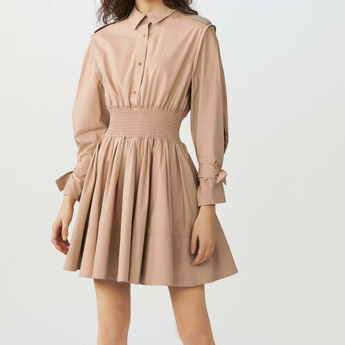 Dress with smocked waist : Vestidos color Beige