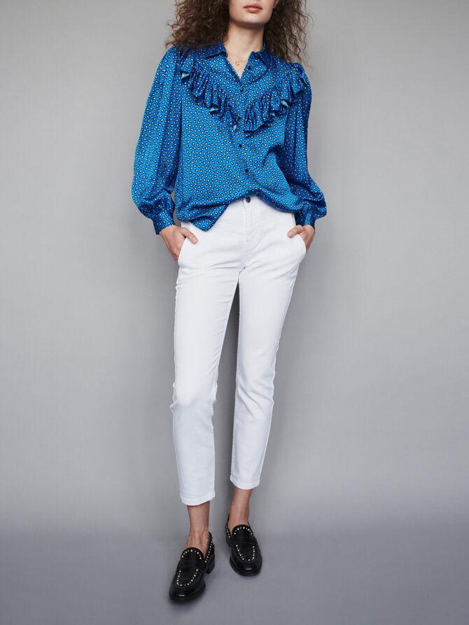 Blusa de raso estampada con volantes - Tops y Camisas - MAJE