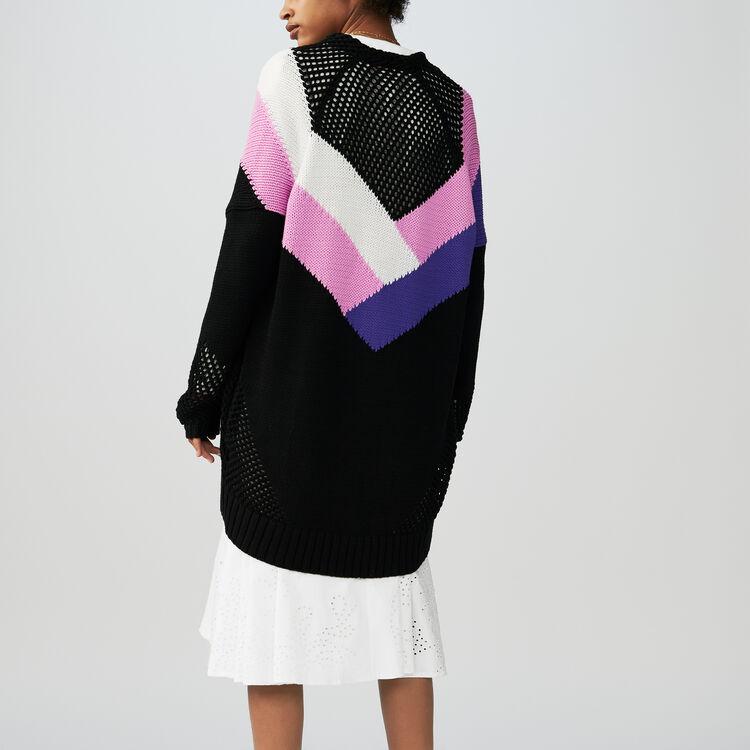 Cárdigan largo con detalles : Malla color Multicolor