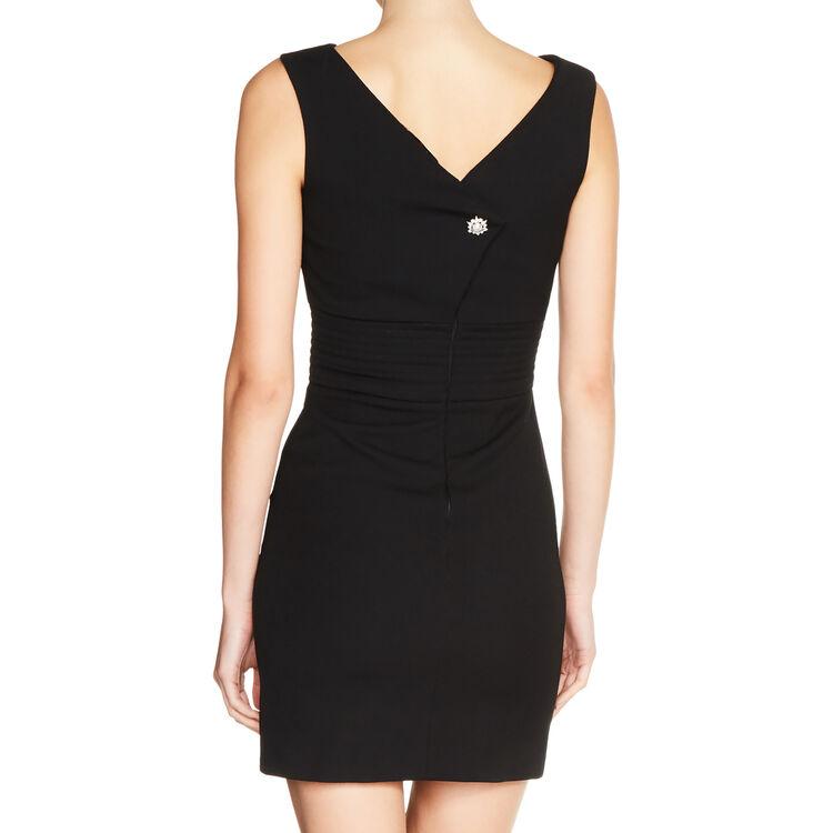 Vestido sin mangas de crepé : Vestidos color Negro
