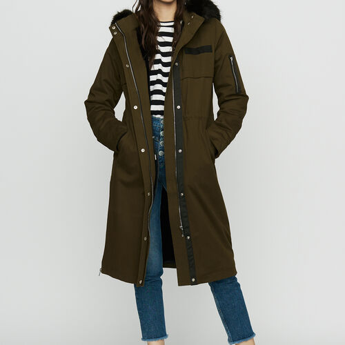 Parka larga con capucha de piel falsa : Abrigos color Negro