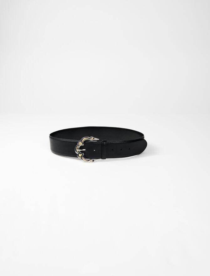 Cinturón ancho piel con hebilla bereber -  - MAJE