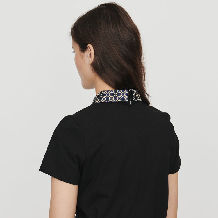 T-shirt with contrast collar & jewels : T-Shirts color Negro