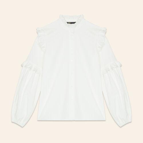 Camisa de popelina con volantes : Tops color Blanco