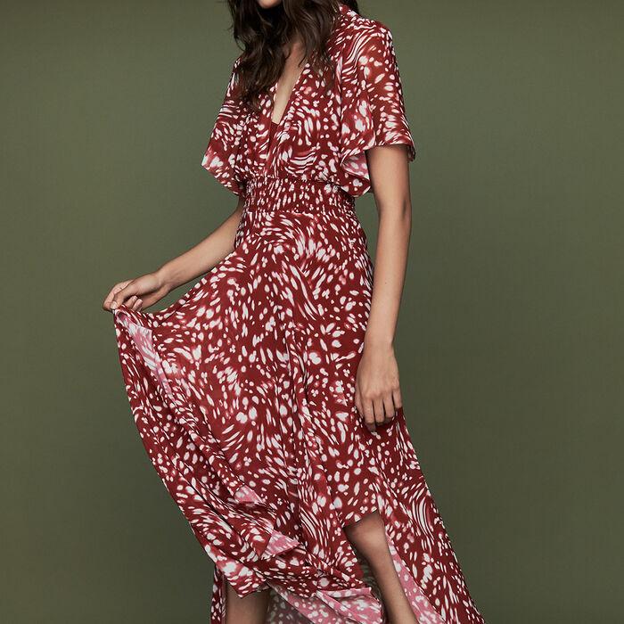 Vestido largo asimétrico estampado : Burdeos color IMPRIME