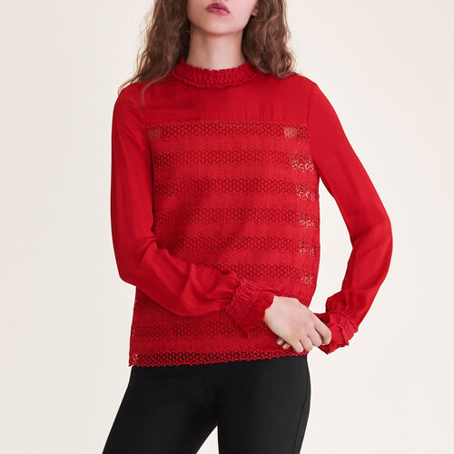 Top mit Stickerei : Tops color Rojo