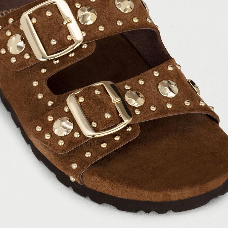 Sandalias de cuero con tachuelas : Zapatos planos color Camel