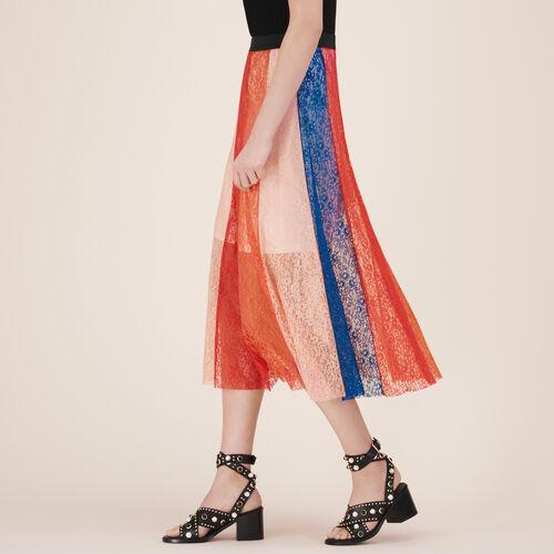 Falda larga con bandas de encaje : Faldas y shorts color Multicolor