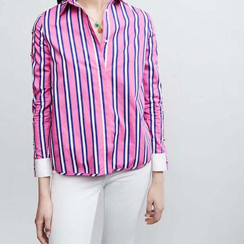 Camisa de algodón a rayas con presiones : Camisas color Rayas