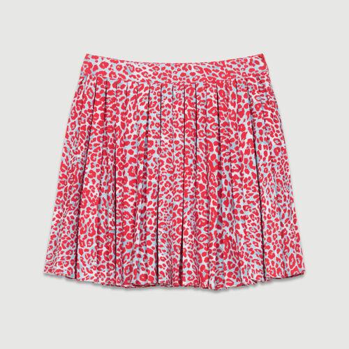 Falda plisada estampado leopardo : Faldas y shorts color IMPRIME