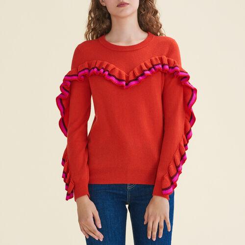 Jersey de lana y cachemira con volantes : Jerseys y cárdigans color Naranja