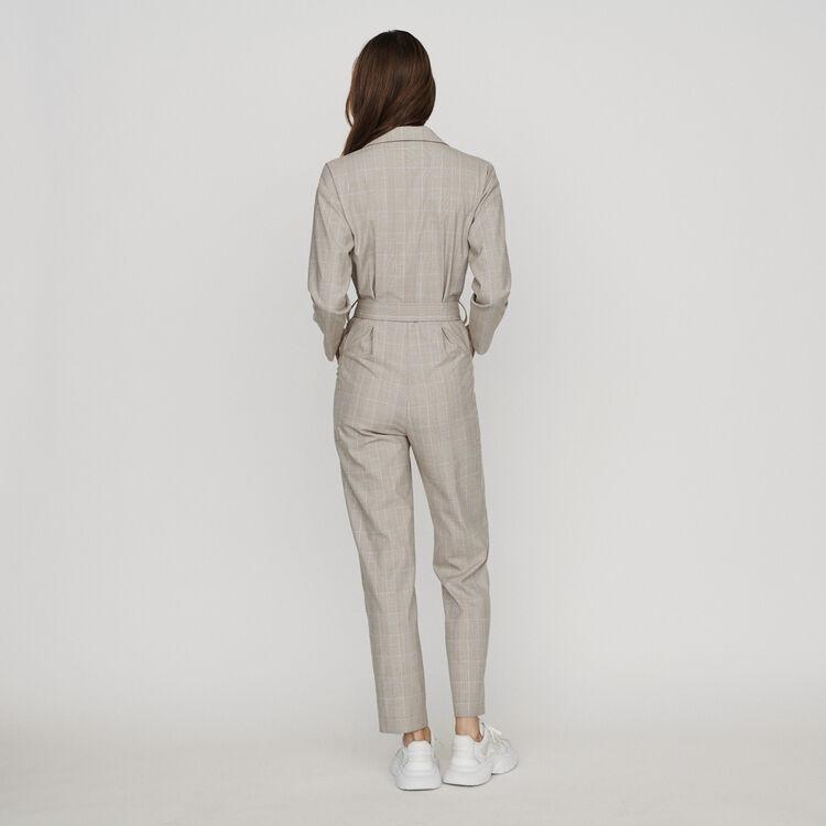 Mono-pantalón de cuadros ceñido : Pantalones y Jeans color CARREAUX