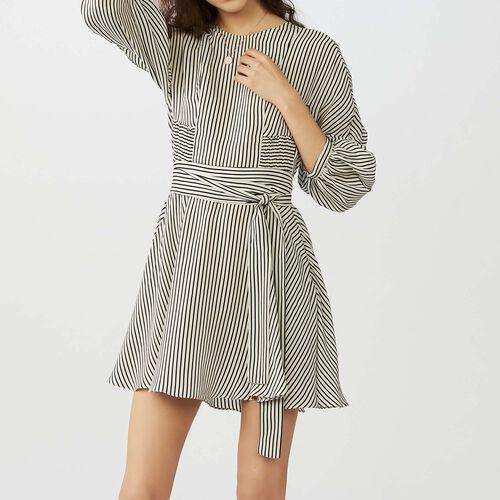 Striped dress with smocked waist : Vestidos color Rayas