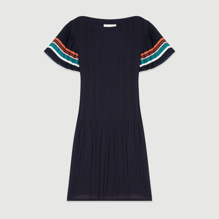Vestido plisado de rayas : Vestidos color Azul Marino