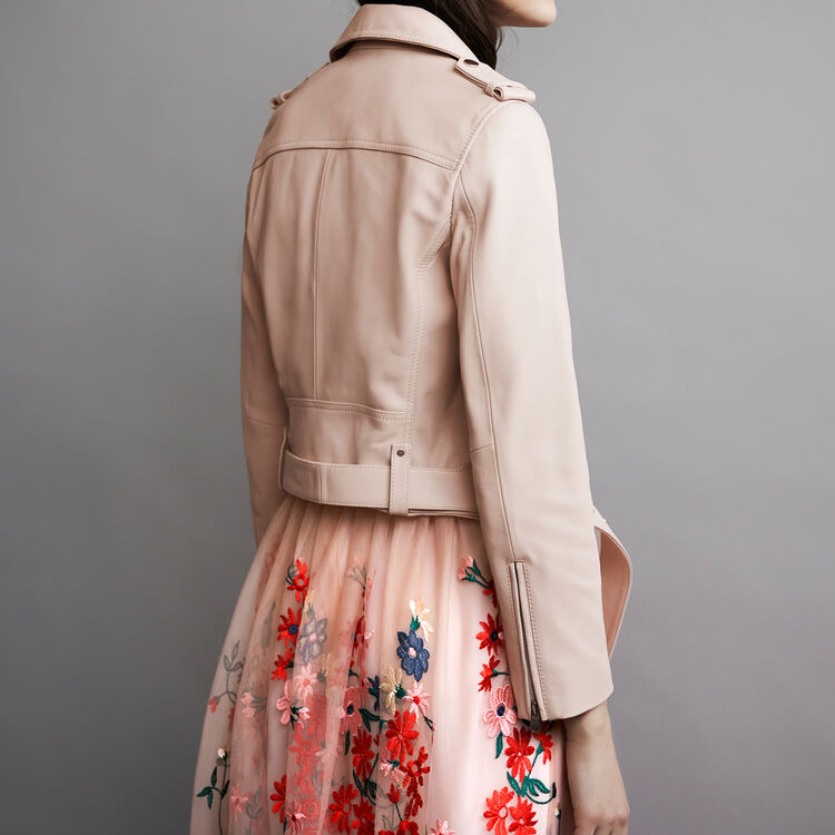 Leather jacket with belt : Cazadoras color Nude
