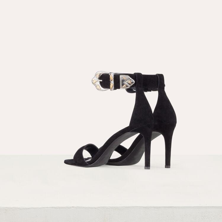 Sandalias gamuza con tacó : Zapatos de tacón color Negro