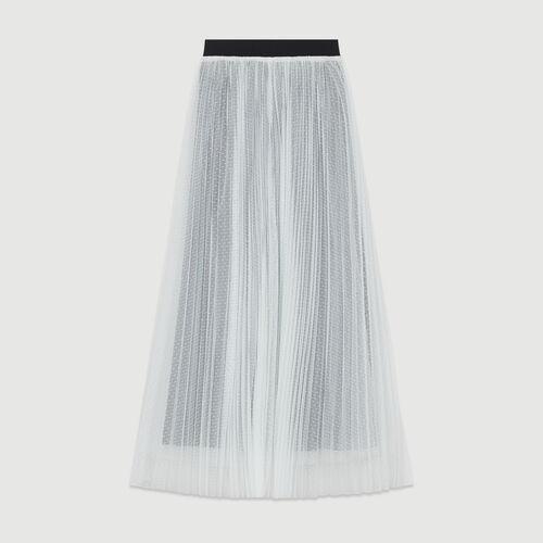 Faldón plisado en tul plumetis : Faldas y shorts color ECRU