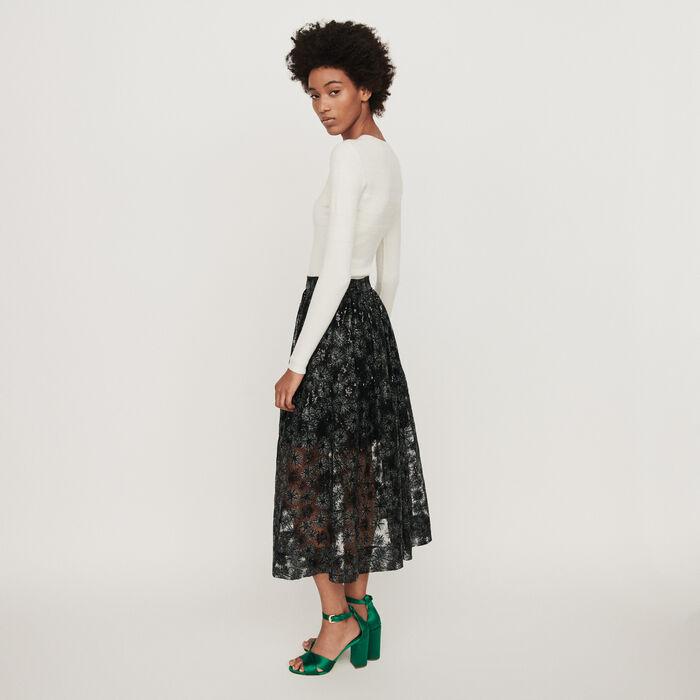 Falda de tul bordada de lentejuelas : Faldas y shorts color Negro