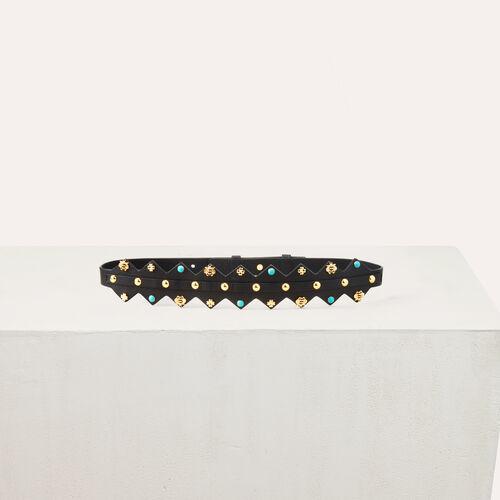 Cinturón de cuero con tachuelas : Cinturones color Bicolor