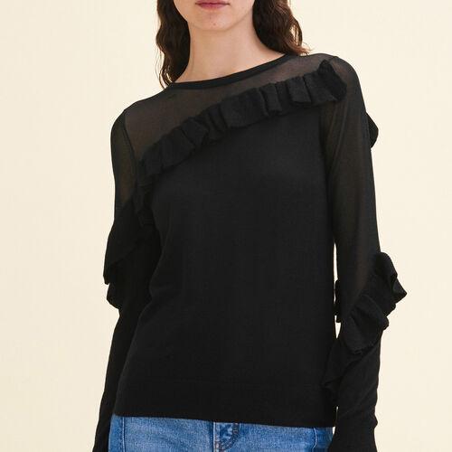 Jersey fino con volantes : Jerseys y cárdigans color Negro