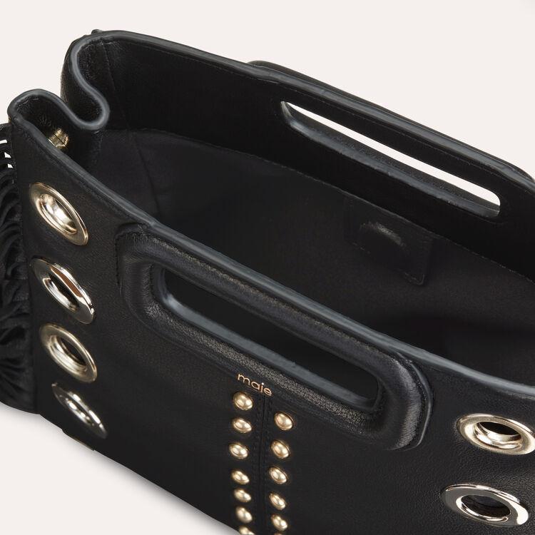 Bolso M de cuero con tachuelas y aretes : Office girl color Negro