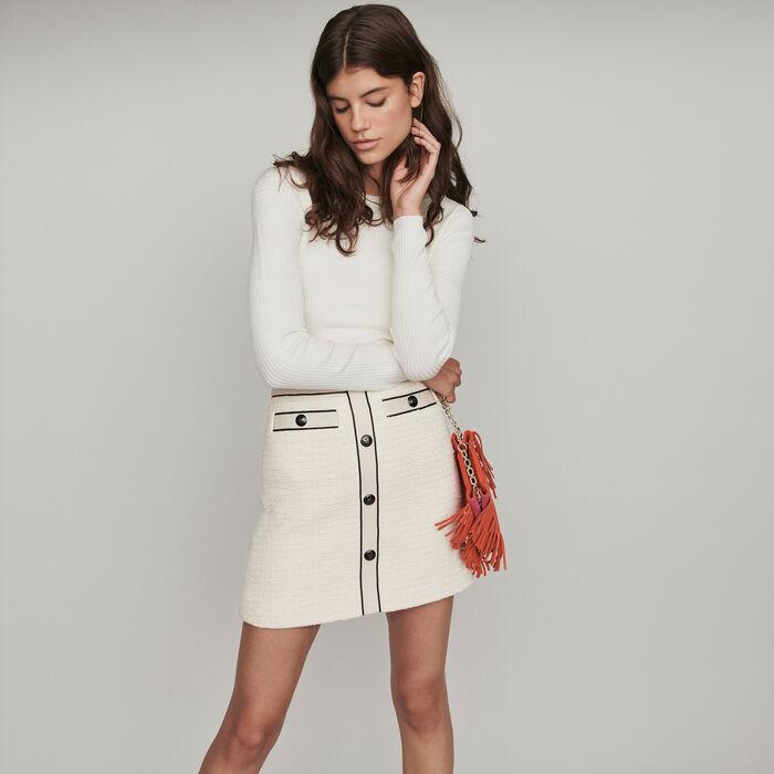 Falda recta tipo tweed a contraste : Faldas y shorts color Crudo