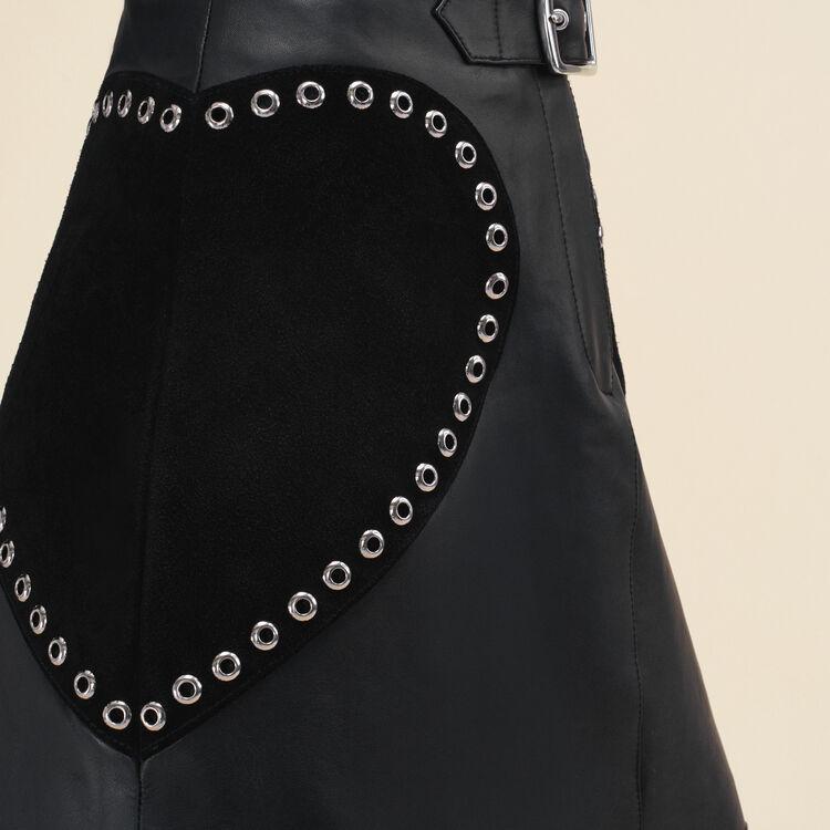 Falda trapecio de piel : null color Negro